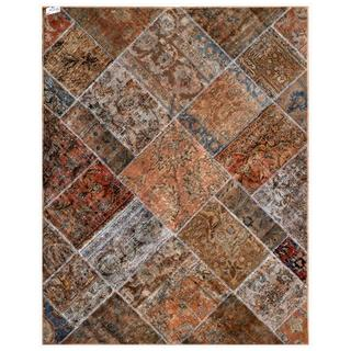 Pak Persian Hand-knotted Patchwork Grey/ Red Wool Rug (4'11 x 6'3)