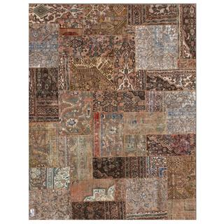"""Traditional Pak Persian Hand-Knotted Patchwork Multicolored Wool Rug (7'10"""" x 9'9"""")"""
