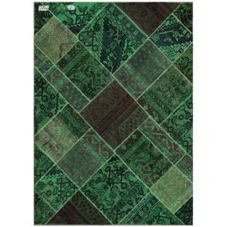 Pak Persian Hand-knotted Patchwork Green/ Navy Wool Rug (4'8 x 6'6)