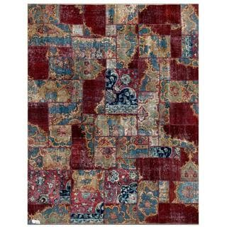 "Pak Persian Hand-Knotted Patchwork Multicolored Wool Geometric Rug (7'10"" x 9'9"")"