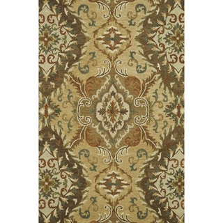 Handmade Harrison Gold Wool Rug (3'6 x 5'6)