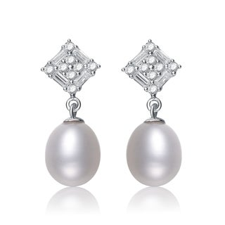 Collette Z Silver White Freshwater Pearl Cubic Zirconia Earrings (8.5-10 mm)