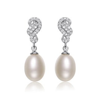 Collette Z Silver White Freshwater Pearl Cubic Zirconia Earrings (8-10.5 mm)
