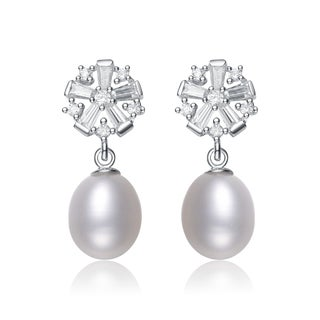 Collette Z Silver White Freshwater Pearl Cubic Zirconia Earrings (8.5-11 mm)