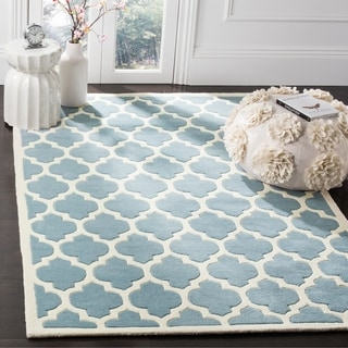 "Handmade Moroccan Blue Wool Rectangular Rug (8'9"" x 12')"