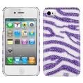 BasAcc Zebra White/ Purple Pearl Diamante Case for Apple iPhone 4/ 4S