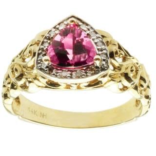 Michael Valitutti 14K Yellow Gold Triangle-cut Pink Tourmaline and Diamond Ring