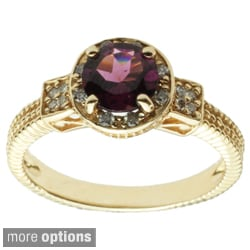 Michael Valitutti 14k Yellow Gold Rhodolite, Apatite or Blue Zircon and Diamond Ring