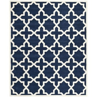"Handmade Moroccan Dark Blue 100 Percent Wool Rug (8'9"" x 12')"