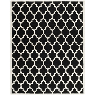 "Handmade Moroccan Black Wool Geometric Rug (8'9"" x 12')"
