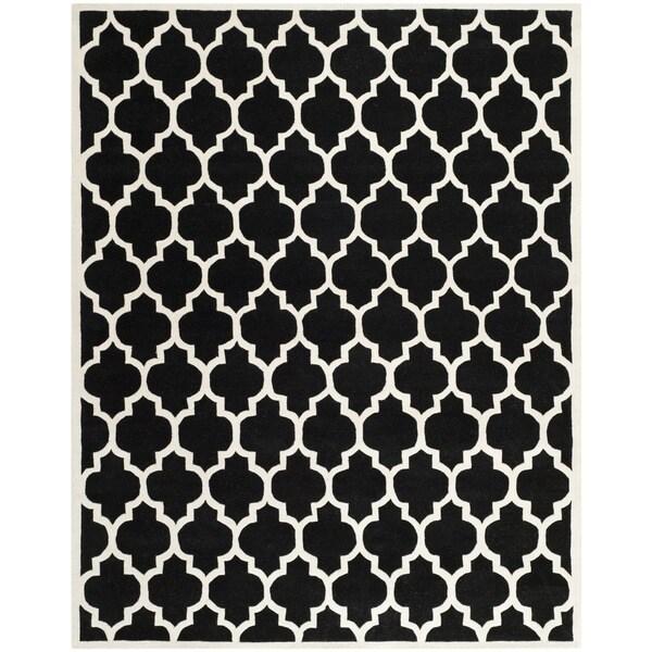 "Safavieh Handmade Moroccan Black Wool Geometric Rug (8'9"" x 12')"