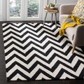 Safavieh Handmade Moroccan Cambridge Chevron Black Wool Rug (3' x 5')