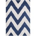Safavieh Handmade Moroccan Cambridge Chevron Navy Wool Rug (3' x 5')