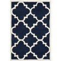 Handmade Moroccan Tufted Dark Blue Wool Rug (3' x 5')