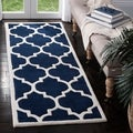 "Handmade Moroccan Dark Blue Abstract Wool Rug (2'3"" x 9')"