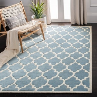 Traditional Handmade Moroccan Blue Wool Rug (3' x 5')