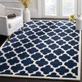 Contemporary Handmade Moroccan Dark Blue Wool Rug (3' x 5')