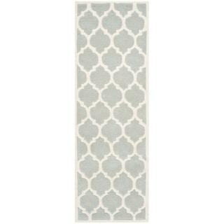 Handmade Hand-Tufted Moroccan Grey Wool Rug (2'3 x 7')