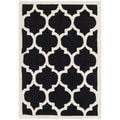 Durable Handmade Moroccan Black Wool Rug (2' x 3')