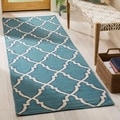 "Handwoven Moroccan Dhurrie Light Blue Wool Runner Rug (2'6"" x 6')"