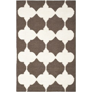 Safavieh Hand-woven Moroccan Reversible Dhurrie Brown Wool Geometric Rug (2'6 x 4')