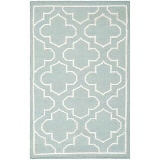 Safavieh Hand-woven Moroccan Reversible Dhurrie Blue Wool Rug (2'6 x 4')