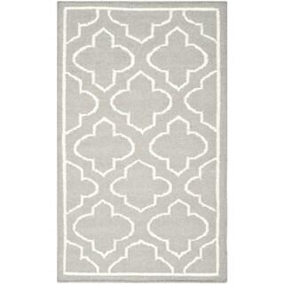 Safavieh Hand-woven Moroccan Reversible Dhurrie Grey Wool Rug (2'6 x 4')