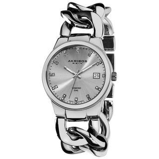 Akribos XXIV Women's Swiss Quartz Genuine Diamond Twist Chain Bracelet Silvertone Watch