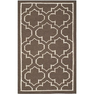 Safavieh Hand-woven Moroccan Reversible Dhurrie Brown Wool Rug (2'6 x 4')
