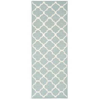 Safavieh Hand-woven Moroccan Dhurrie Blue Wool Rug (2'6 x 7')