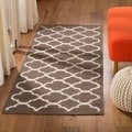 "Contemporary Handwoven Moroccan Dhurrie Brown Wool Rug (2'6"" x 7')"