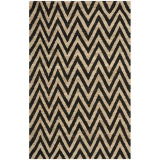 Safavieh Hand-knotted Organic Black/ Natural Wool/ Jute Rug (4' x 6')
