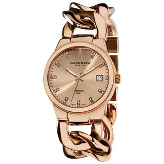 Akribos XXIV Women's Swiss Quartz Genuine Diamond Twist Chain Bracelet Rosetone Watch