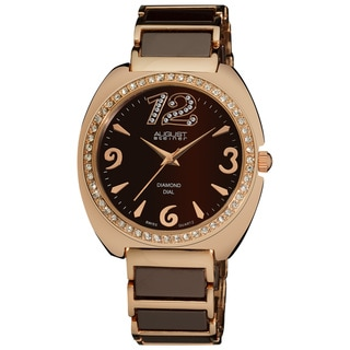 August Steiner Women's Diamond Ceramic Link Bracelet Watch