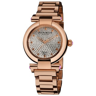 Akribos XXIV Women's Swiss Quartz Rosetone Stainless-Steel Diamond Watch