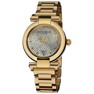 Akribos XXIV Women's Swiss Quartz Goldtone Stainless-Steel Diamond Watch