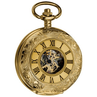 Akribos XXIV Men's Antique Automatic Skeleton Chain Pocket Watch