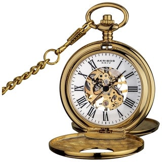Akribos XXIV Men's Antique Mechanical Skeleton Chain Pocket Watch