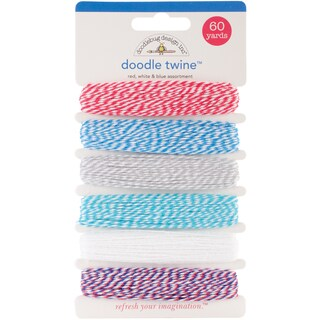 Stars and Stripes Red, White and Blue Doodle Twine 60-yard Assortment Pack