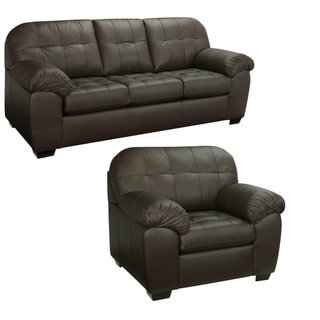 Isabella Chocolate Brown Italian Leather Sofa and Chair