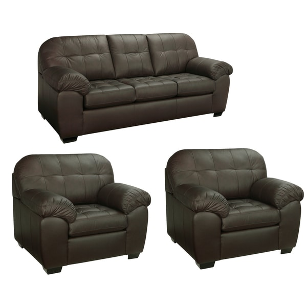 Isabella Chocolate Brown Italian Leather Sofa and Two Chairs
