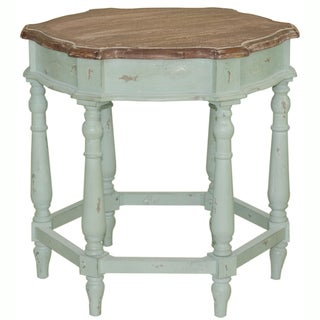 Hand-painted Distressed Pale Blue Finish Accent Table