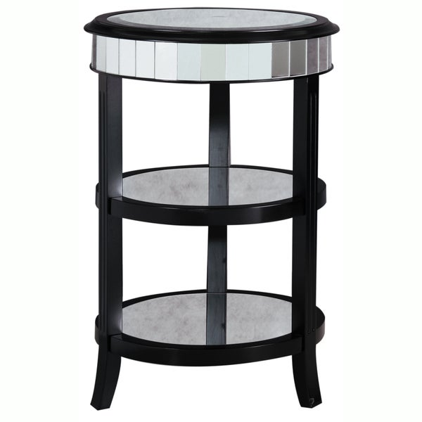 Hand painted distressed antique mirrored black finish accent table