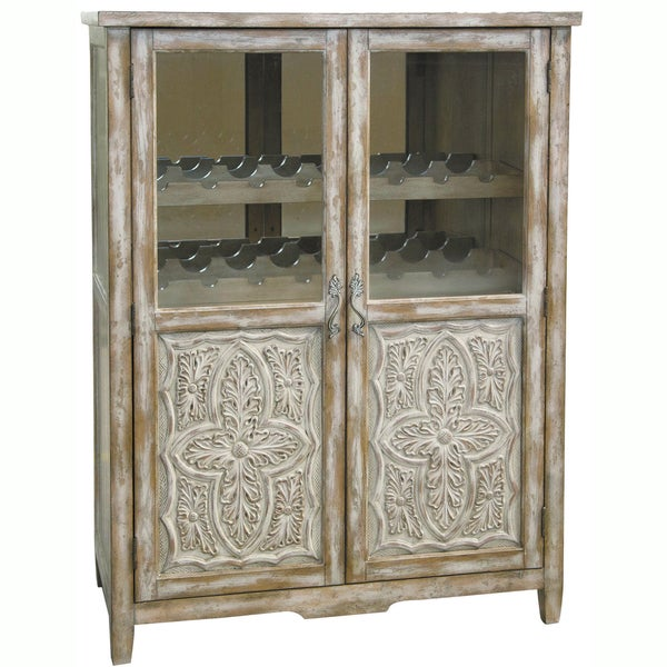Hand Painted Distressed Coffee Table: Hand-painted Distressed White/ Natural Wine Cabinet