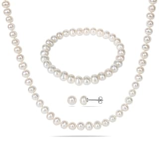 Miadora Silvertone Pearl Necklace, Bracelet and Earrings 3-piece Set (6-7mm)