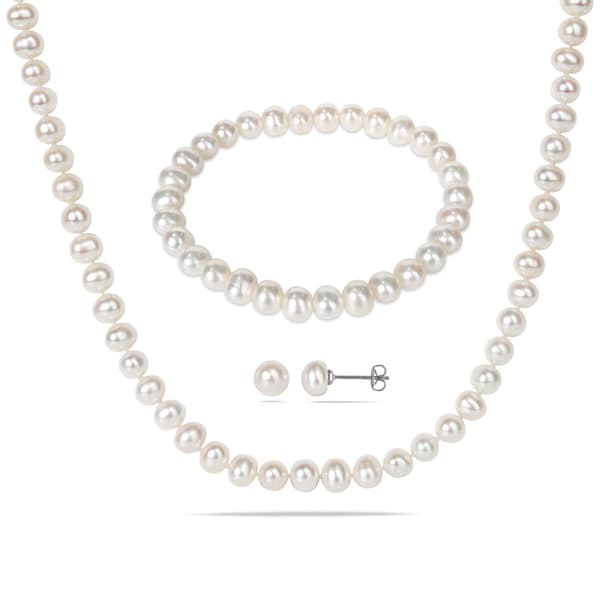 M by Miadora Silvertone Cultured Freshwater Pearl Necklace, Bracelet and Earrings 3-piece Set (6-7mm)