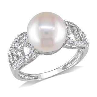 Miadora 14k White Gold 1/5ct TDW Diamond Pearl Ring (11-12mm) (G-H, I1-I2)
