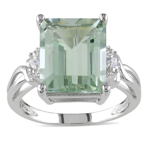 Miadora Sterling Silver Octagon-cut Green Amethyst and White Topaz Cocktail Split Shank Ring