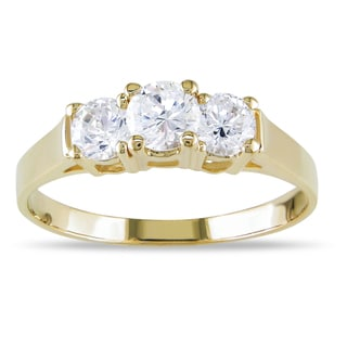 Miadora 10k Yellow Gold Cubic Zirconia Three-Stone Ring
