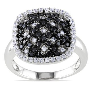 Miadora Sterling Silver Black and White Cubic Zirconia Ring